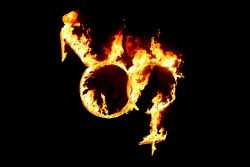 Male and female gender symbols in fire of love